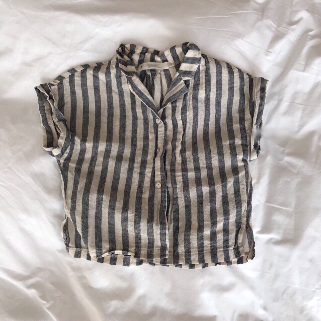 Linen Stripe Summer Shirt, Charcoal