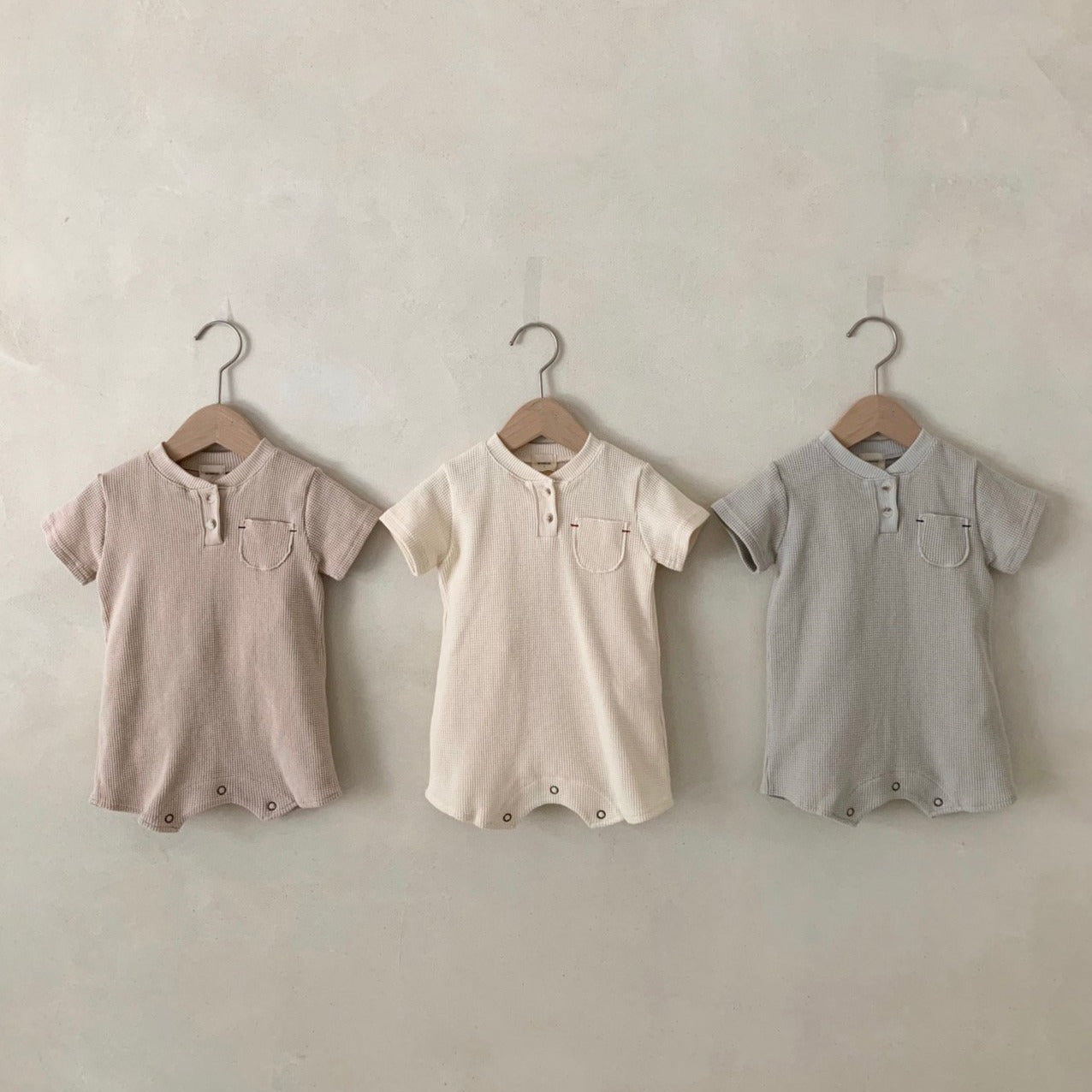 Waffle Simple Romper, 3 Colours