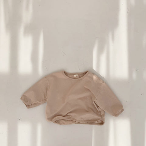 Solid Round Hem Top, Pale Clay