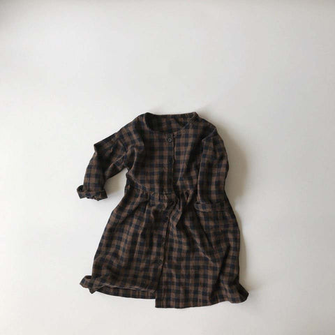 Mono Gingham Dress, Brown
