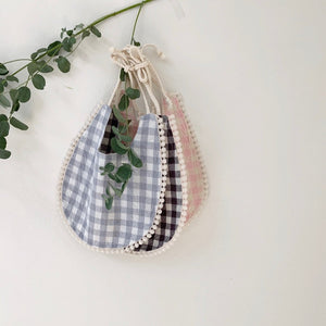 Gingham Lace Bib, 2 Colours