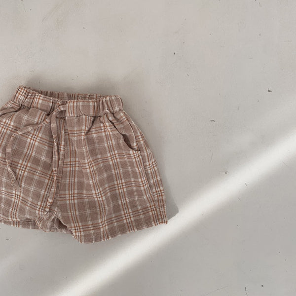 Plaid Summer Shorts, Beige