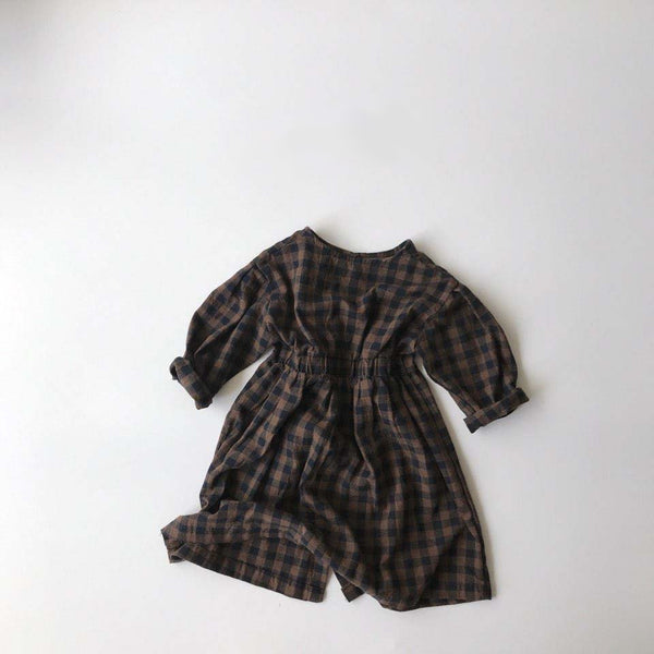 Mono Gingham Dress, Brown (3-5Y)