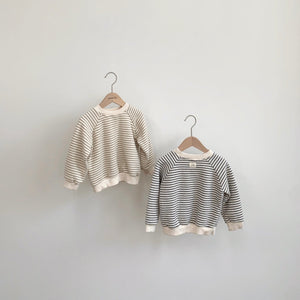 Noah Striped Sweatshirt, Charcoal (1-2y)
