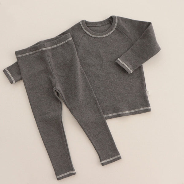 Stitch PJ Set, Charcoal