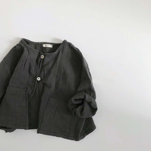 Wrinkle Cotton Cardigan, Charcoal