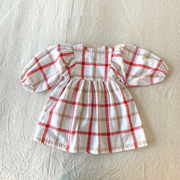 Puff Plaid Dress, Red Plaid