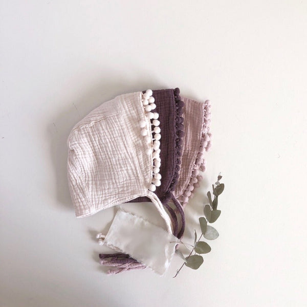 Pom Pom Muslin Bonnet, 2 Colours