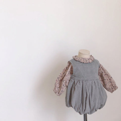 Corduroy Bubble Romper, Grey Blue