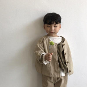Natural Button Jacket, Beige