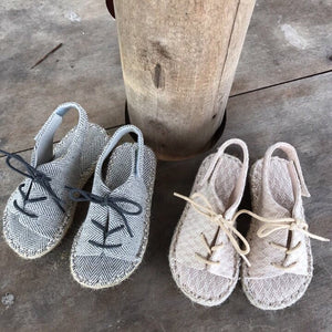 Linen Herringbone Sandals, 2 Colours