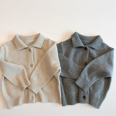 Sweater Button Cardigan, Grey