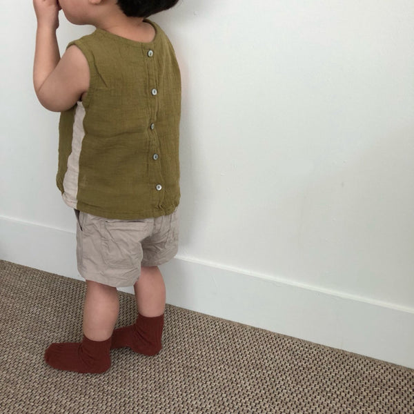 Two Tone Tanktop Blouse, Olive (3-5Y)
