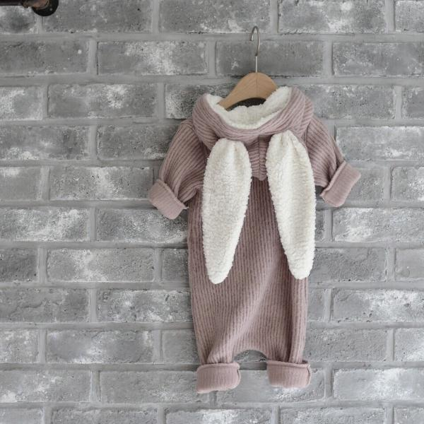 Winter Bunny Romper, Dusty Pink (3-6M)