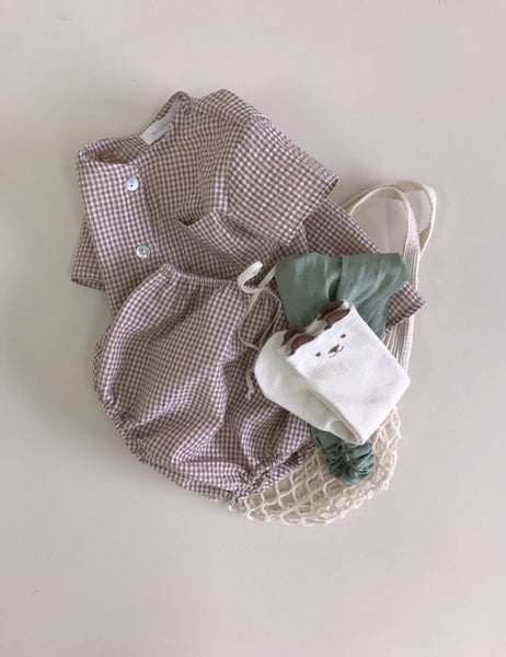 Gingham Top Bottom Set, Brown (6-12M)