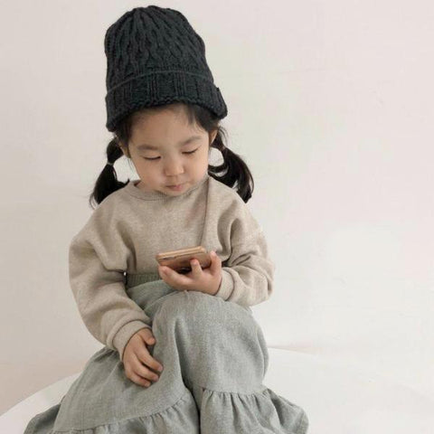 Simple Relaxed Sweatshirt, Oatmeal (5-6y)