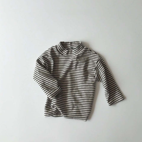 Striped Brushed Knit Top, Black