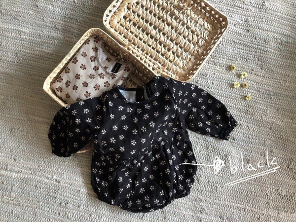 Floral Long Sleeve Romper, Black