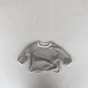 Striped Round Sweatshirt, Charcoal
