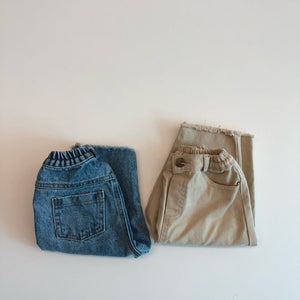 Line Raw Hem Pants, Denim