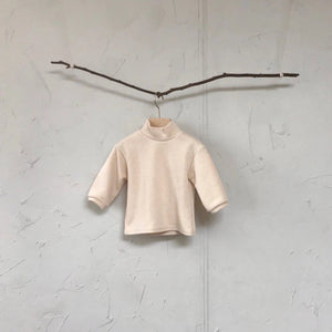 Mock Neck Knitted Top, Cream