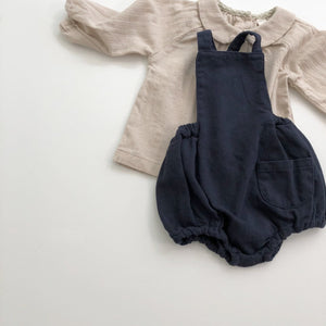 Soft Twill Pocket Romper, Navy