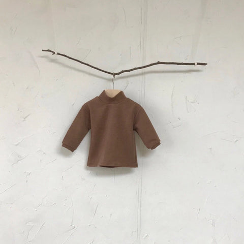 Mock Neck Knitted Top, Brown
