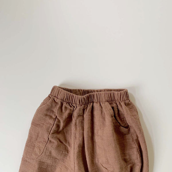 Cropped Crinkle Pants, Clay