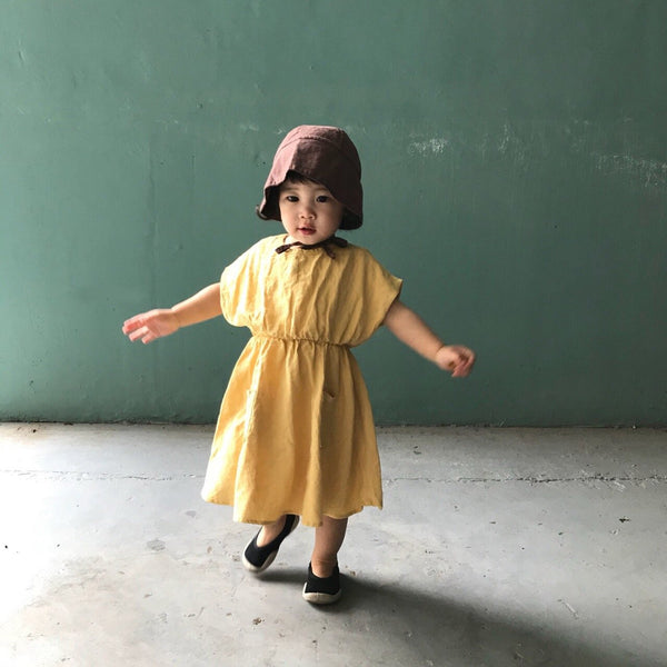 Linen Pastel Dress, Yellow