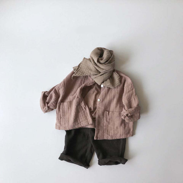 Wrinkle Cotton Cardigan, Dusty Pink