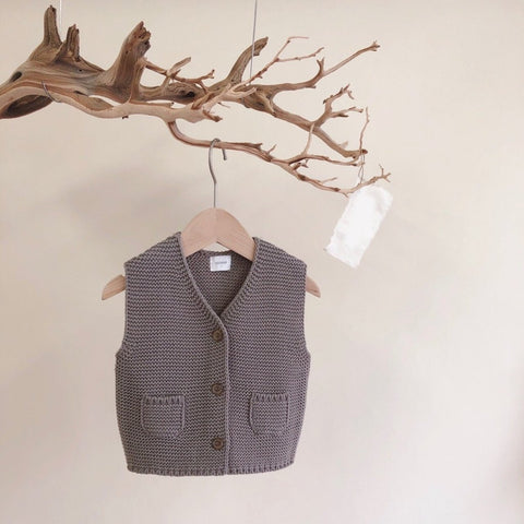French Knit Vest, Grey (3-4y, last one)