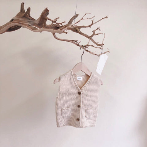 French Knit Vest, Cream (1-2Y)