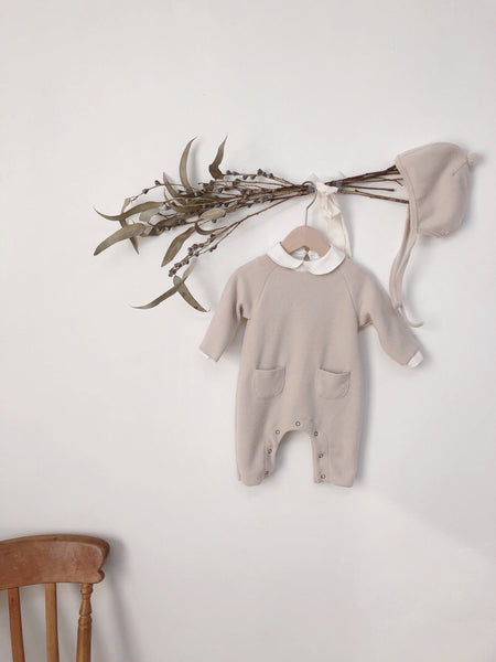 Cozy Fleece Pocket Jumpsuit, Light Beige