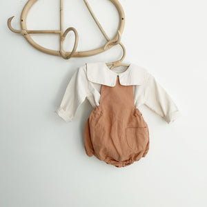 Momo Linen Romper, Soft Orange (12-18m)