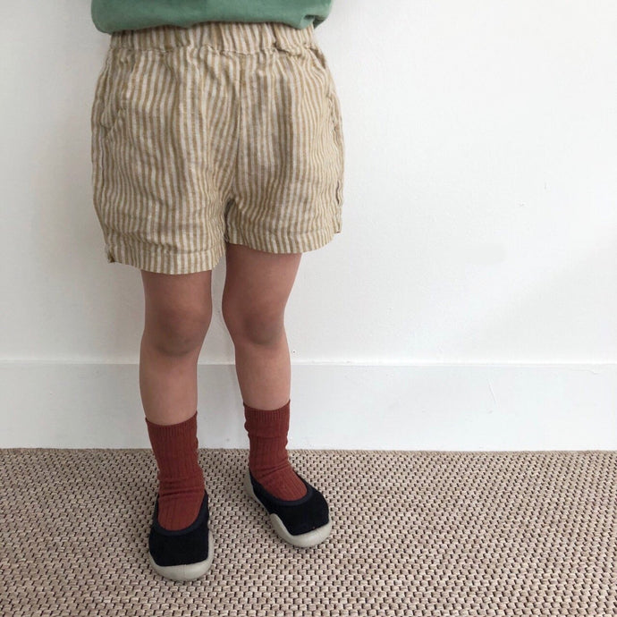 Linen Stripe Shorts, Olive