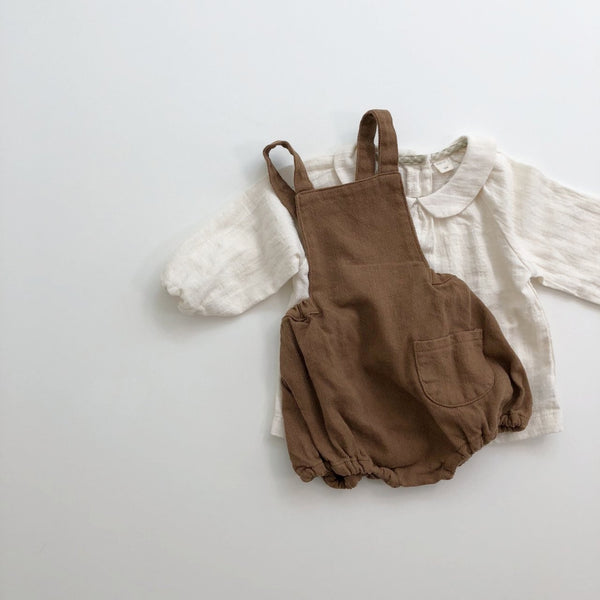 Soft Twill Pocket Romper, Brown (18-24m)