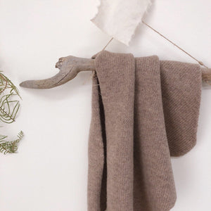 Cashmere Knit Scarf (Cocoa left)