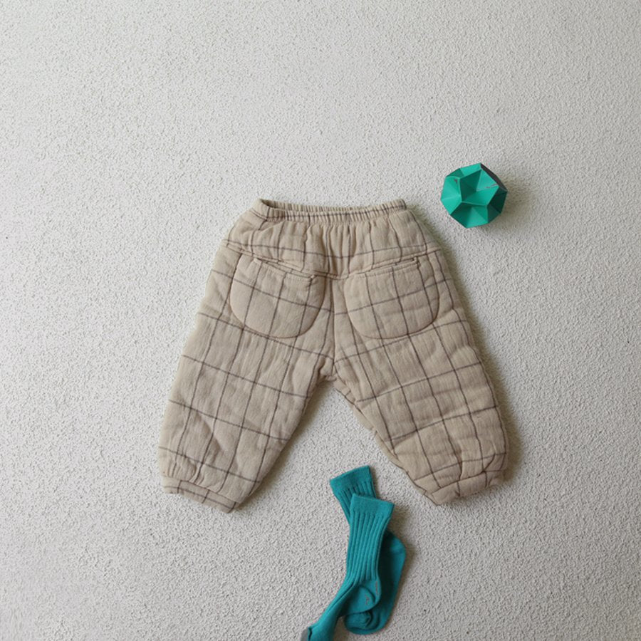 Square Padded Pants, Beige