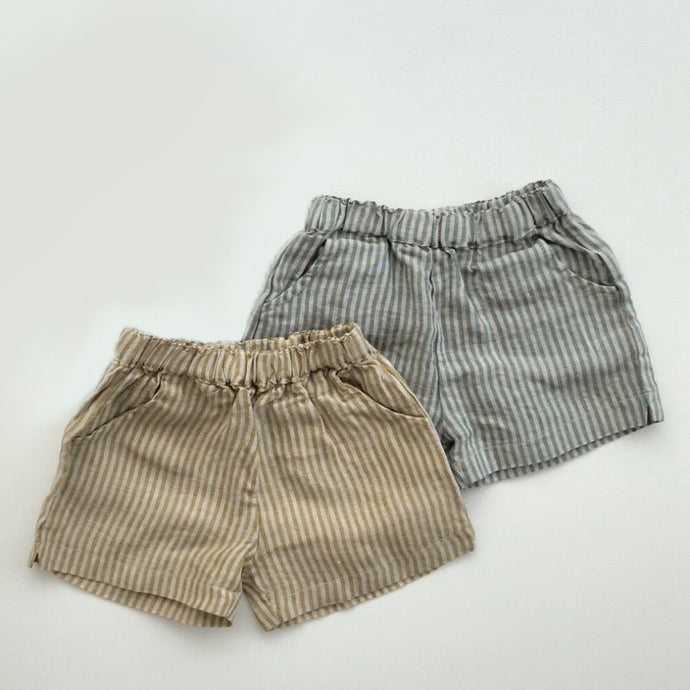 Linen Stripe Shorts, Mint