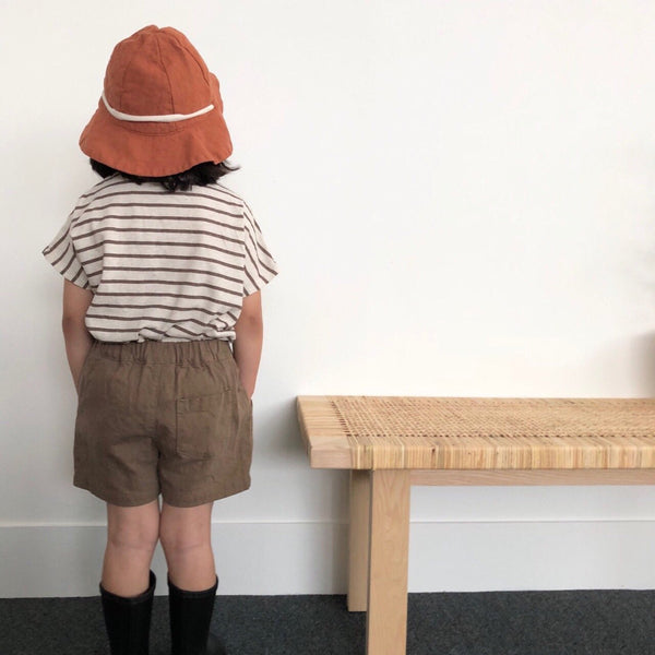 Striped Melange Tee, Brown (3-5Y)