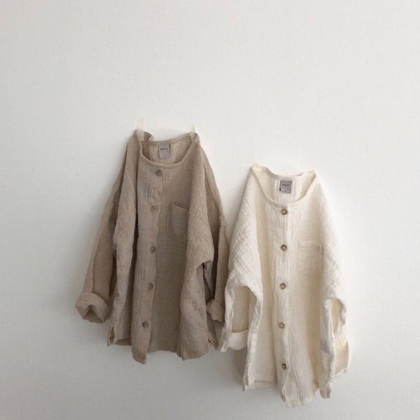 Wrinkle Cardigan Blouse, Beige