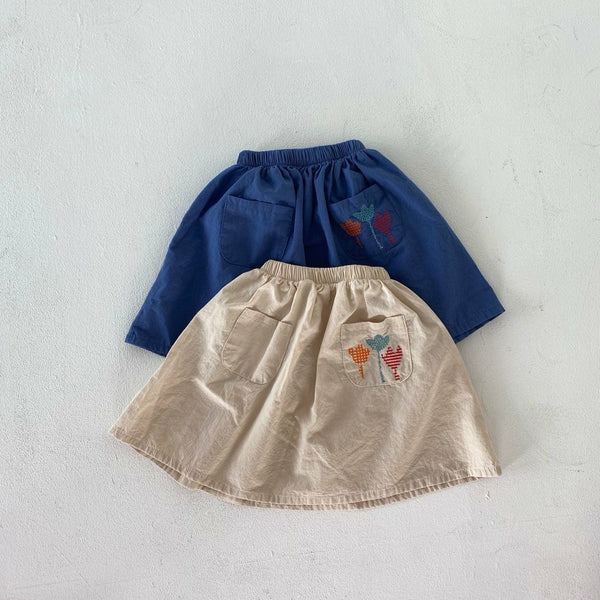Tulip Embroidered Skirt, Blue