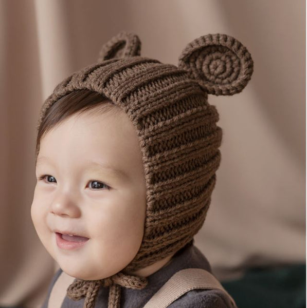 Bear Ears Knitted Bonnet, Brown