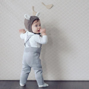 Knit Overall Pants, Grey (12-18M)
