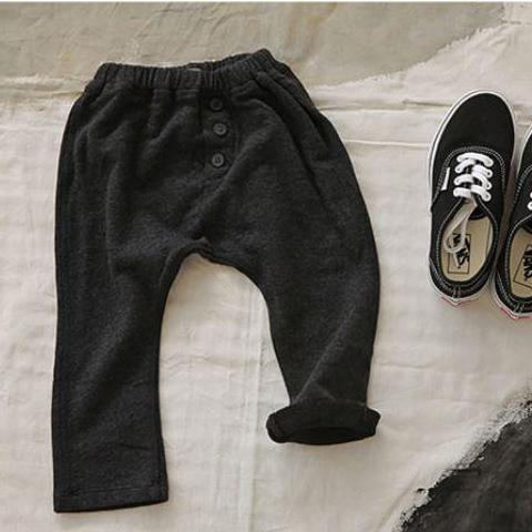Button Soft Joggers, Charcoal (2-3y)