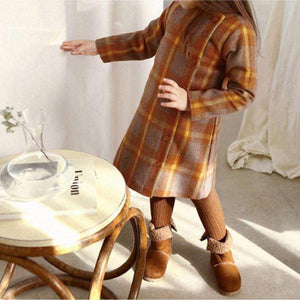 Button Plaid Coat Dress, Orange