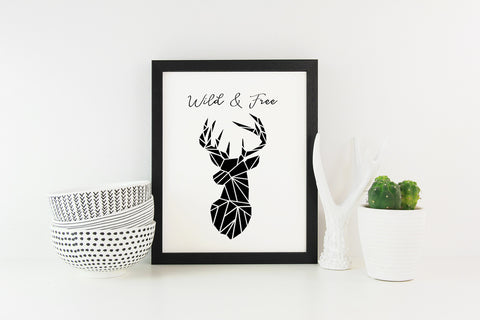 Wild and Free Printable Art work featuring a stag's head