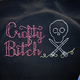 Crafty Bitch Skull and Crossed Needles Cross Stitch Pattern