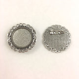 Cross Stitch or Embroidery Silver Round Brooch Blanks (Set of 3)