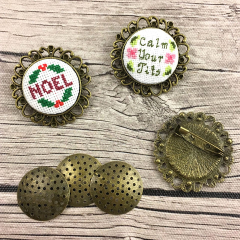 Cross Stitch or Embroidery Antique Bronze Round Brooch Blanks (Set of 3)